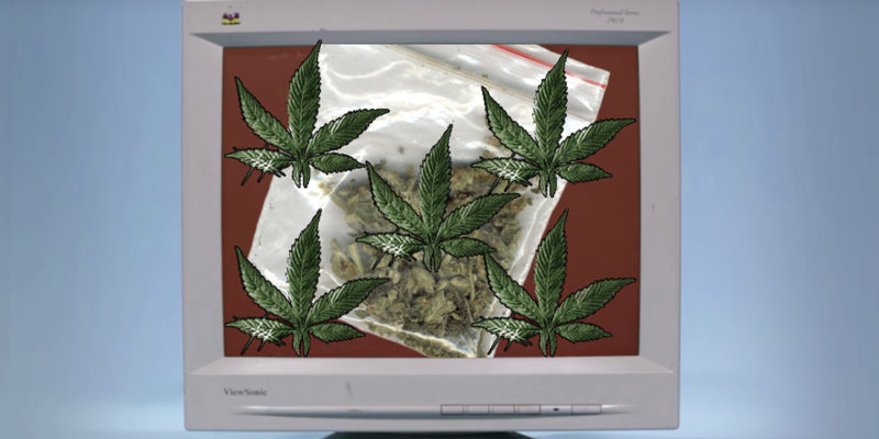 90's computer with a bag of marijuana and pot leafs on it