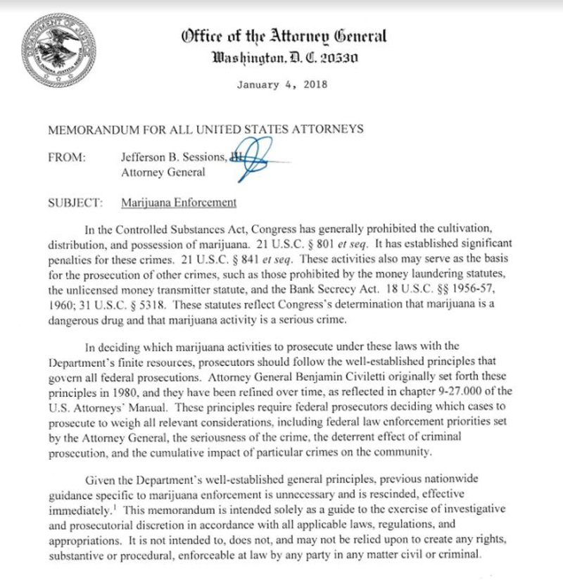 AttorneyGeneralPaper Feds rescind The Cole Memo opening the floodgates for dispensary crackdowns
