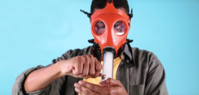 MK Ultra Man smoking out of facemark bong