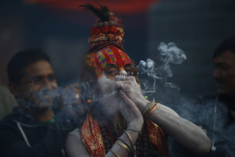 58W4384 Inside the festival in Nepal where smoking weed is holy