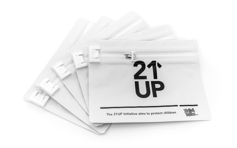 Medium Bag 5 Pack 2 MBs 21UP Exit Bags are the safest way to keep your edibles out of the wrong hands