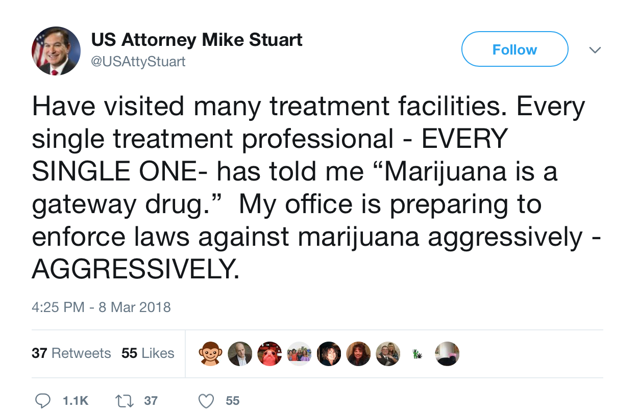Screen Shot 2018 03 16 at 10.26.53 AM West Virginia U.S. attorney vows to aggressively enforce federal marijuana laws