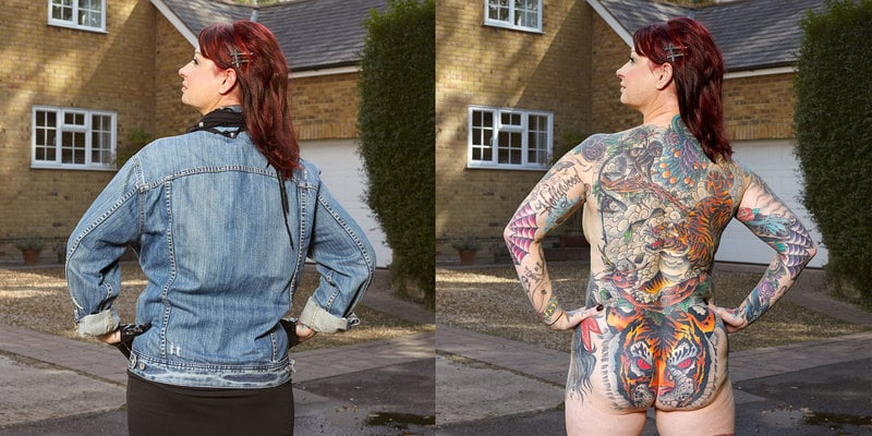 Before and After image of a Woman Devoted To Full Body Tattoos